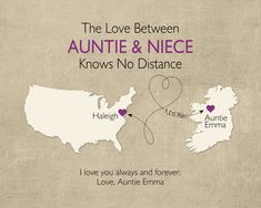 Long Distance Gift for Niece, Long Distance Gift for Goddaughter, Long Distance Gift for Aunt, Gift for Godmother, Keepsake Print by KeepsakeMaps on Etsy
