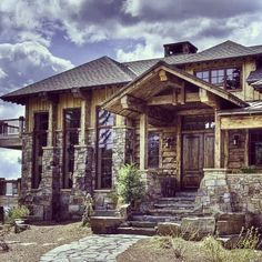 Log and timber frame home constructed by Bear Mountain Builders of Whitefish, Montana.