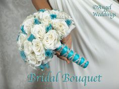 Blue Wedding Flowers Beautiful SHANTI MALIBU Complete Bridal Bouquet Package silk flowers wedding bridesmaid bouquets groom boutonniere corsage via Etsy - Wedding Bridesmaid Bouquets, Diy Wedding Bouquet, Diy Bouquet, Bride Bouquets, Turquoise Bouquet, Bridal Bouquet Blue, Bouquet Flowers, Blue Bridal, Bouquet En Cascade