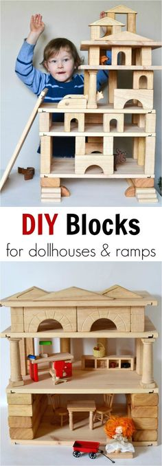 With the help of these DIY homemade wooden building blocks, you can build layers and make wooden doll houses, garages and ramps. Great for kids who love building, engineering and other STEM activities! Woodworking Organization, Woodworking For Kids, Woodworking Joints, Woodworking Projects, Intarsia Woodworking, Woodworking Quotes, Woodworking Basics, Woodworking Bench, Woodworking Garage