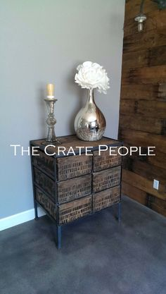 6 Drawer Crate Dresser or Entrance Table - Reclaimed Wood and Crates - Customizable by TheCratePeople on Etsy https://www.etsy.com/listing/158441653/6-drawer-crate-dresser-or-entrance-table
