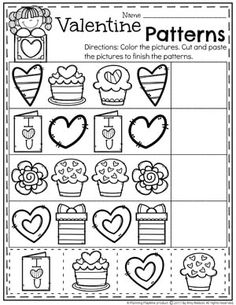 Are you looking for fun Valentine's Worksheets and Centers for Preschool? Preschool Lessons, Preschool Worksheets, Preschool Activities, Preschool Learning, Worksheets For Preschoolers, Printable Worksheets, Free Printable, Valentine Crafts For Kids, Valentines Day Activities