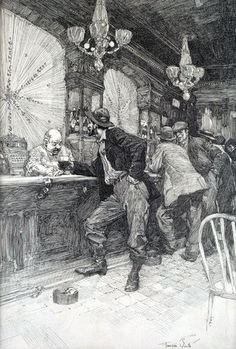 Franklin Booth -  Bar Scene1920 Pen on paper, 11 inches x 7 inches - Kelly Collection American Illustration Art