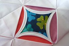 "Easy-peasy ""Charming Window Pillows"" from Moda Bake Shop. (Moda's version of the cathedral window quilt.)"
