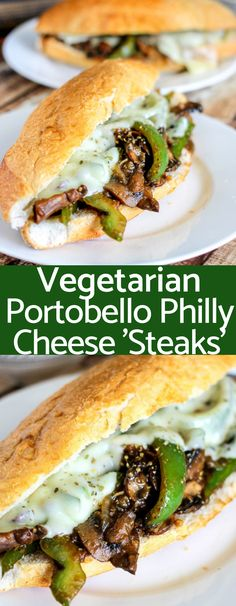 Vegetarian Portobello Philly Cheese Steaks are stuffed with mushrooms, peppers, and onions then topped with provolone cheese. Super delicious and ready in 20 minutes! Philly Cheese Steaks, Vegan Philly Cheesesteak, Vegetarian Steak, Vegetarian Dinners, Vegetarian Wraps, Vegetarian Comfort Food, Vegetarian Sandwiches, Vegetarian Recipes American, Vegetarian Barbecue