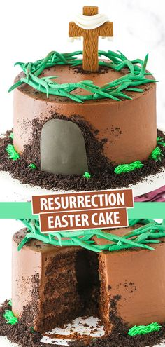 Resurrection Easter Cake is decorated as a tomb, with a cross and crown of thorns on top. And when you cut into the tomb, it reveals that it's empty inside! Cross Cookie Cutter, Easter Treats, Easter Desserts, Easter Recipes, Smooth Cake, Fondant Decorations, Crown Of Thorns, Food Cakes, Unsweetened Cocoa