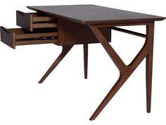 Nuevo Karlo Brown 53.5'' x 27'' Rectangular Writing Desk American Home Furniture, Modern Office Desk, Dark Walnut Stain, Table Desk, Drafting Desk, Office Furniture, Home Furnishings, Mid-century Modern, Mid Century