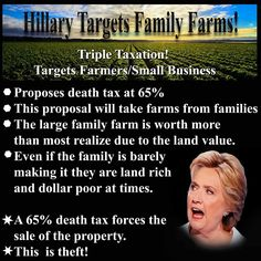 MOSTLY FALSE: Clinton is indeed calling for a 65% tax rate, but this only applies to the largest estates — those valued at more than $1 billion per couple. That would probably include very few, if any, family farms.