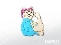 Кошка феминистка  значки, брошь, деревянный значок, значок из дерева, деревянные значки, деревянная брошь, ручная работа, handmade, brooch, wood, pin, cat, femen, кошка, кот