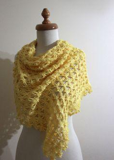 Crochet Shawl Yellow  Gift For Her Spring Fashion by filofashion, $68.00