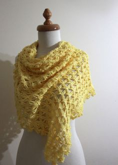 Crochet Shawl Yellow  Gift For Her Spring Fashion by filofashion, $68.00