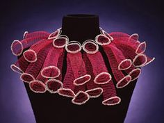 Arline Fisch - Pink & Silver Circles - Machine knit - coated copper, silver crochet, and sterling.