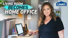 """In this first episode of the """"Home Becomes"""" makeover series, Monica Mangin transforms a corner of her living room into the perfect remote working station. Diy Furniture Book, Diy Memo Board, Craft Room Storage, Lp Storage, Craft Rooms, Living Roon, Mini Office, Tv Stand Console, Vinyl Record Storage"""