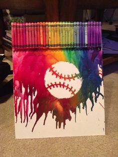 All about the Crayon Art; this is seriously so cool, I would want to make the ball yellow though, for softball.