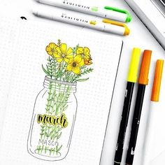 Bullet journal monthly cover page, March cover page, flowers in Mason jar drawing. | @stationerymagpie