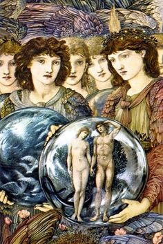 Edward Burne-Jones - PreRaphaelite - Days of Creation Day 6 detail Cumbria, Pre Raphaelite Paintings, Pre Raphaelite Brotherhood, Edward Burne Jones, Days Of Creation, Morris, Angels Among Us, Adam And Eve, Angel Art