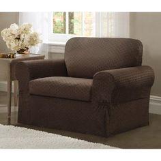 Maytex Conrad Stretch 2 Piece Chair T-Cushion Slipcover Set