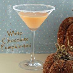 White Chocolate Pumpkin Martini  --Godiva White Chocolate Liqueur   -2 oz Vanilla Vodka  -1/2 oz pumpkin liqueur ( I use Hiram Walker)  -1 tsp whipped cream  --Pour Godiva liqueur, vodka, and pumpkin liqueur into a shaker filled w/ ice. Shake, Pour…  Enjoy! Whipped cream and/or cinnamon stick optional for Garnish.