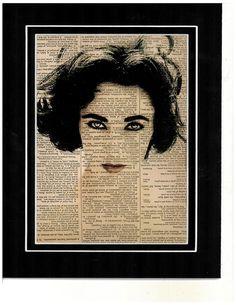 Elizabeth Taylor vintage dictionary art