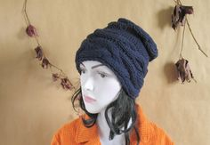 Women Hat Slouchy Hat Slouch Beanie Cable Hand by recyclingroom