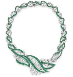 Emerald and diamond necklace by Oscar Heyman & Brothers, 1956. Elizabeth Taylor collection, Christie's.