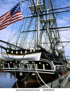 stock photo : Old Ironsides, The U.S.S. Constitution In Boston Harbor, Massachusetts