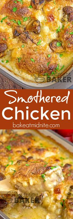 This smothered chicken is the ultimate comfort food! #chicken #comfortfood #easyrecipes #casseroles