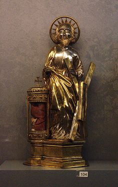 Tongeren, Limburg, OLV-basiliek, treasury, reliquary, St. Andrew,15th cent. Silver and partly gilt
