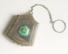 Vintage Guilloche Enamel Ring Dance Purse Compact Powder Rouge
