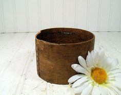 Early Primitive HandMade Wood Box  Rustic Round by DivineOrders, $94.00