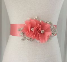 Coral Sash-Coral Bridal Sash-Coral Flower by RoseybloomBoutique