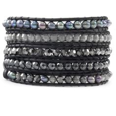 Black Mix Sectioned Pearl Wrap Bracelet on Natural Black Leather - Chan Luu