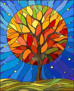 Illustration in stained glass style with autumn tree on sky background with the … Illustration in stained glass style with autumn tree on sky background with the stars Stock Vector – 68049380 Art Arte Pop, Sea Glass Art, Stained Glass Art, L'art Du Vitrail, Glass Painting Designs, Autumn Trees, Autumn Art, Tree Art, Tree Of Life Art