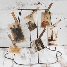 Photo collage using old lampshade frame creative design atelier i actually have one of these lamp shade frames vintage wire frame lampshade photo display by red truck designs traditional lamp shades greentooth Image collections