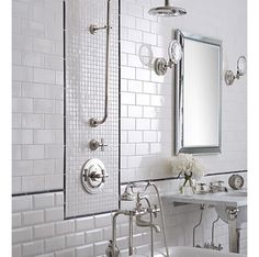 beveled subway and traditional flat subway separated by black matchstick tile shower components highlighted with - Matchstick Tile Bathroom Ideas