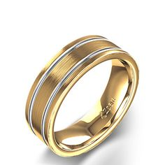 Carved Men's Two Tone Wedding Ring in 14K Gold
