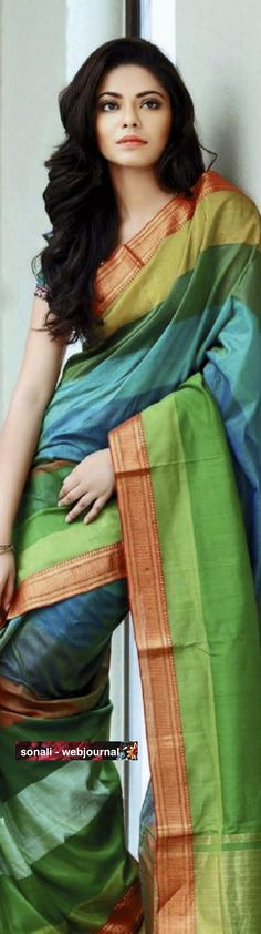 Silk cotton #Saree with #Handloom Mangalgiri border (w/ zari)