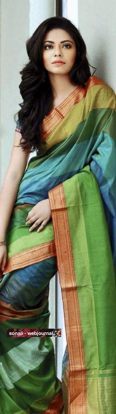 Silk cotton with Mangalgiri border