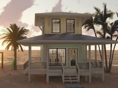 050H-0139: Tiny Beach House Plan with Wrap-Around Porch; 533 sf Tiny Beach House, Small Beach Houses, Malibu Beach House, Beach Cottage Style, Beach House Decor, Coastal Style, Tiny House, Coastal House Plans, Beach House Plans