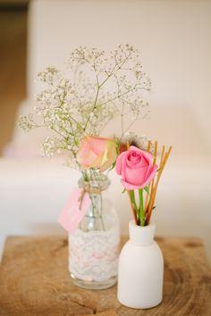 Floral Arrangement from a Vintage Chic 1st Birthday Party via Kara's Party Ideas | KarasPartyIdeas.com
