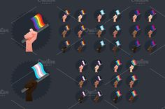Sexuality Flags - all races Graphics This item includes a useful pack of 30 hands holding flags in different races, very easy to work wit by Beatriz Gasc¨®n