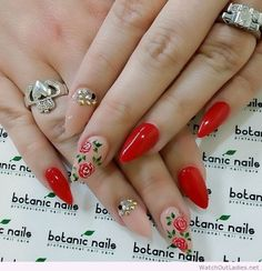 nude nails with red roses - Google Search