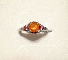 Fire Opal, Orange Sapphire, Diamond Ring in S. Silver (Size 9.75) 1.31 ctw *NIB* #SolitairewithAccents