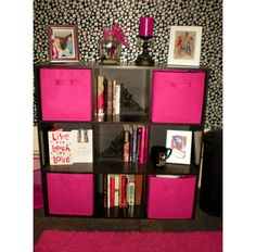 Pink And Black Dorm Room | ... cards on display and stowed cleaning supplies in the hot pink drawers