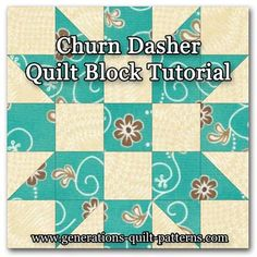 Learn to make a Churn Dasher quilt block. Instructions included for 4 sizes. One of many blocks in our Free Quilt Block Patterns Library.