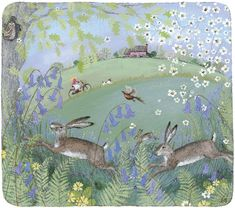 Hares and bluebells. Oh so English. Barn owl. Love Lucy's work- delicate but full of movement.
