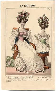 oldrags:  Evening dress, 1827 France, La Reunion  Love the scallops (and check out that fan!)