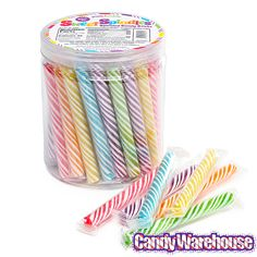 These lovely spiral stick candies, Sweet Spindles, are specially packaged to display the vivid colors within!  http://yumjunkie.com/sweet-spindles.html for wholesale candy requests, http://www.candywarehouse.com/products/sweet-spindles-mini-candy-sticks-assorted-50-piece-tub/ for retail.