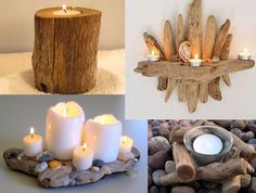 Great Diy driftwood candles ~ My desired home Driftwood Furniture, Driftwood Projects, Driftwood Art, Driftwood Ideas, Crafts To Make, Home Crafts, Diy Crafts, Driftwood Candle Holders, Shell Crafts