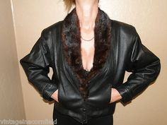 Vintage 80s Black Leather Jacket with Mink Collar Bat Wing Sleeves Ready to Wear | eBay